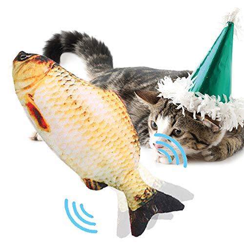 PECHTY Elektrisch Spielzeug Fisch,USB Katze Interaktive Spielzeug Simulation Plush Fisch,Elektrische Puppe Fisch Plüschtier für Katze zu Spielen, Beißen, Kauen und Treten (Gelb)