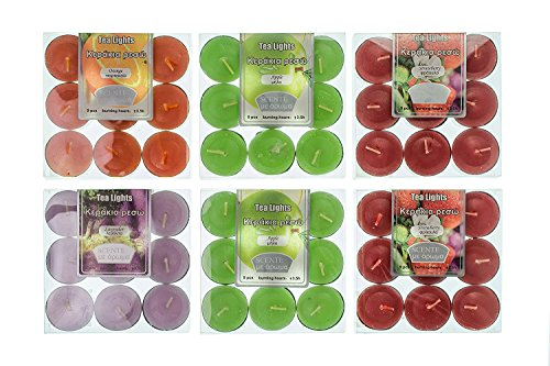 Velas de té aromáticas velas set 54pcs 4 sabores candelabros de surtido (paquetes de 6x9) 4 aromas Fresa, Manzana, Lavanda, Naranja (aroma combo B)