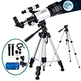 Telescope for Kids Adults Astronomy Beginners, 150X HD Refractor Telescope for Astronomy, 70mm