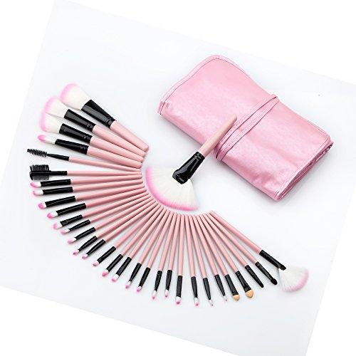 kowaku 32x Kit de Pinceles de Maquillaje de Madera Rosa Juego de Correctores en Polvo Sombras de Ojos con Bolsa