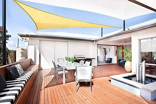 Sunnylaxx Vela de Sombra Triangular 3.6 x 3.6 x 3.6 Metros, toldo Resistente y Transpirable, para Exteriores, jardín, Color Arena