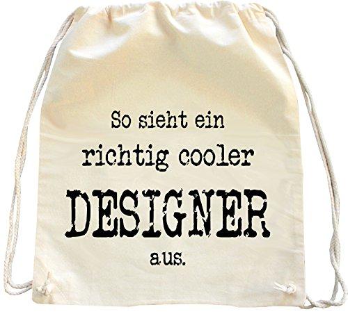 Mister Merchandise Turnbeutel Natur Rucksack So Sieht EIN richtig Cooler Designer aus, Farbe: Natur