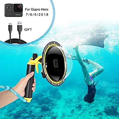 for GoPro Dome Port, GoPro Accessories for Dome GoPro Hero 5 6 7 2018 Black White Sivler with Trigger Pistol and Floating Grip Housing, Telesin Underwater Case Underwater Diving Accessories
