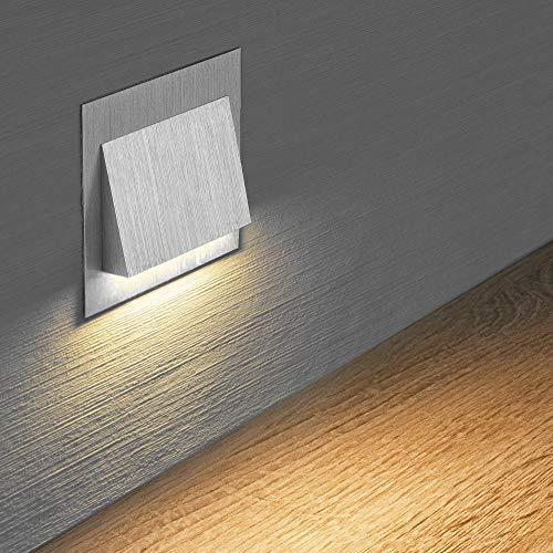 LED Treppenbeleuchtung Aluminium 75x75x32 mm 3 Watt Stufenlicht Wandleuchte unterputz 6106 (Variante 14)