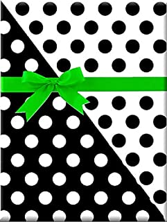 Reversible Double-Sided Black and White Polka Dot Gift Wrap Wrapping Paper-15ft Roll w. Gift Tags