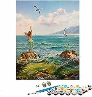 油絵 数字キッ_女の子の肖像画のイラスト_- 番号でペイント -_絵画デジタル 数字キットによる絵画手塗り -_40x50cm_DIYフォトフレーム