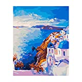 Paint by Numbers for Adults by BANLANA, DIY Adult Paint by Number Kits for Beginners on Canvas Rolled Without Frame 16' by 20' (Santorini)