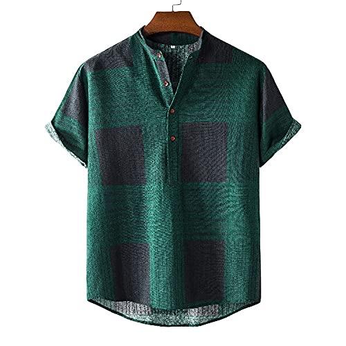 Shirt Hombres Básica Transpirable Botón Tapeta Manga Corta Hombres T-Shirt Verano A Cuadros Diseño Moda Hombres Shirt Ocio Cómoda Tendencia Suelta Hombres Shirt Playa G-07 M