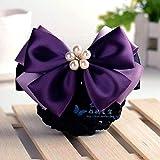 1 cabeza profesional flor cinta bolsa de red tocado de horquilla-cinco perlas-morado oscuro