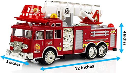Toysery Fire Truck Toy for Kids, Automatic Steering Rescue Fire Truck Toy with Flashing Lights and Real Siren Sounds (Construction Fire Truck)
