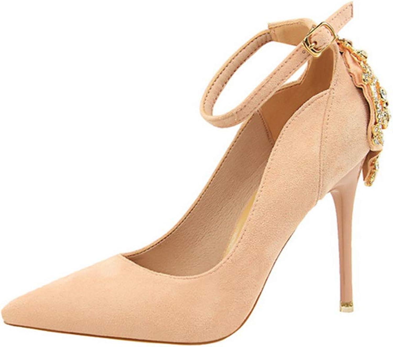 Drew Toby Women Pumps Elegant Crystal Pointed Wedding Fashion Buckle Shallow High Heels