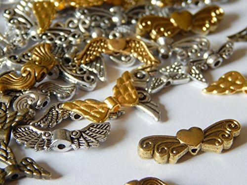 50 Engelflügel Flügel Perlen Mix Metall Silber/Gold Diverse Größen und Formen Schutzengel