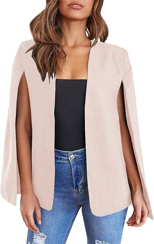 GAMISOTE Womens Cape Blazer Split Sleeve Open Front Casual Jacket Coat Workwear