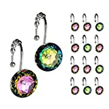 Sunlit Luxury Design Round Colorful Diamond Crystal Gem Bling with Glide Balls Shower Curtain Hooks, Rust Proof Metal Rhinestones Shower Curtain Rings-12 Pack