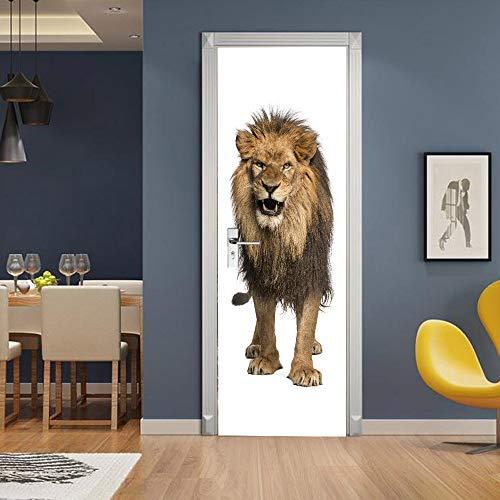 HSKABA Tür Tapete Selbstklebende Tür Wandbild,3D Tür Aufkleber Tapeten Türdekoration Poster - König der Löwen - Türdekor 77x200 cm