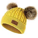 Yixda Baby Kids Winter Mütze Mädchen Jungen Warm Fellbommel Beanie Hüte (Gelb)