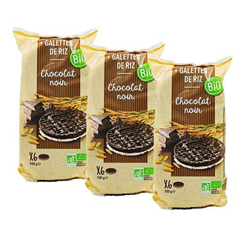 Lot 3x Galettes de riz chocolat noir BIO - paquet 100g