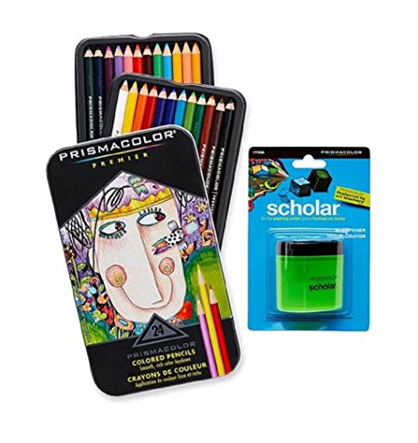 Prismacolor Premier Soft Core Colored Pencil, Set of 24 Assorted Colors (3597T) + Prismacolor Scholar Colored Pencil Sharpener (1774266)