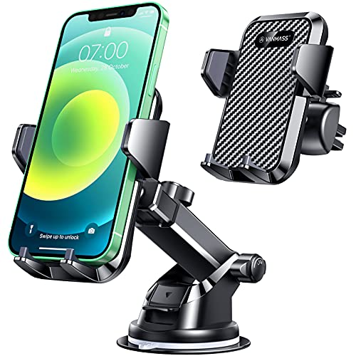 VANMASS Car Phone Holder Universal, Upgraded Super Strong Suction & Air Vent Clip, Handsfree Phone Holder for Car Dash Windscreen Vent, Compatible with iPhones 12 11 SE XS XR 8+ Galaxy S20+ A71 Note20