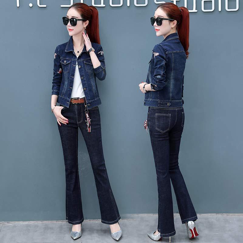 2019新款女装韩版时尚港味套装两件套春装牛仔外套女士喇叭裤子潮蓝色(套装) S