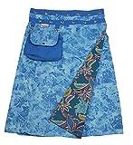 Sunsa Damen Rock Knielang Sommerrock Wickelrock aus luftiger Baumwolle, 2 Designs midi Röcke in einem, Skirt Größe verstellbar, Geburtstag Geschenk für Frauen, Hippie Boho Bekleidung 15731