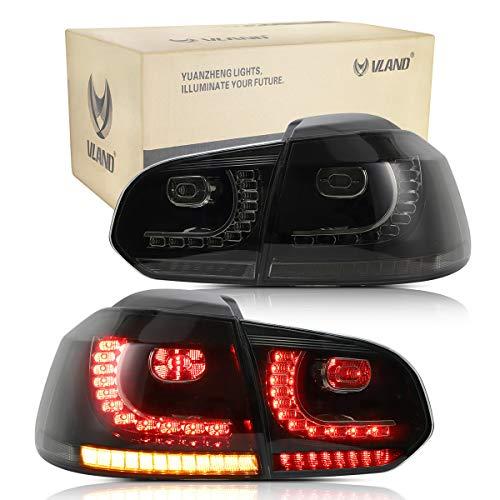 VLAND Rückleuchten für GOLF 6 MK6 GTI R GTD 2008 2009 2010 2011 2012 2013 LED Lightbar Heckleuchten,mit Dynamik Blinker,Mit E-Prüfzeichen,LED Technik Rücklichter,schwarz