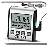 CILAVI LCD Digital Cooking Food Meat Smoker Oven Kitchen BBQ Grill Thermometer Clock Timer and Backlight with Stainless Steel Probe for Kitchen, Silver