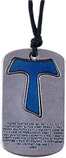 Eurofusioni Ciondolo Croce Tau Padre Nostro Azzurro Placcato Argento