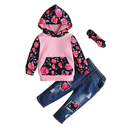 YQSR Conjunto de ropa para beb con capuchn de LOpard Tournesol para beb, pantalones vaqueros de manga larga con capucha, 3 unidades