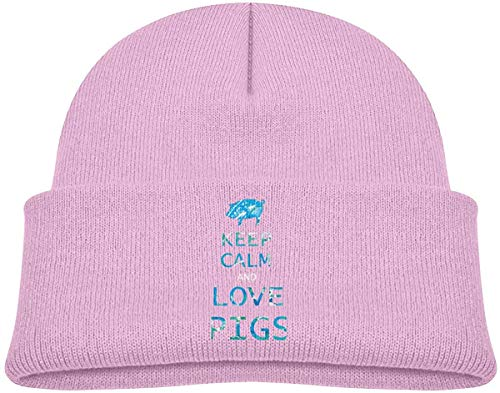 XCNGG Strickmütze Wollmütze Soft Toddler Cap Knitted Hat for Baby with Cute Keep Calm and Love Pigs Pattern