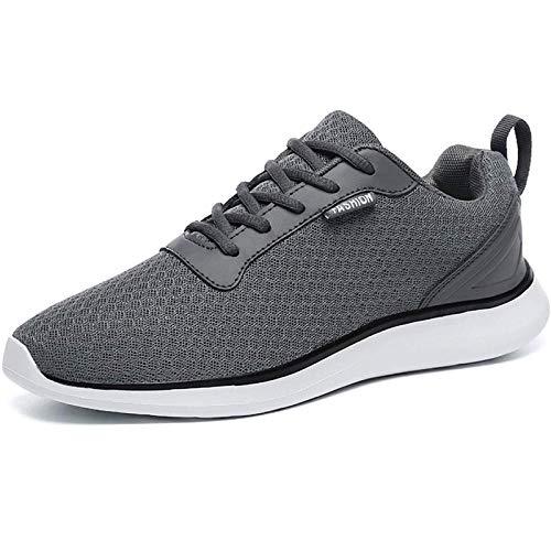 BaiMoJia Herren Leichte Laufschuhe Atmungsaktiv Mesh Turnschuhe Schnüren Fitnessschuhe Sneaker, Grau, 38 EU (Etikettengröße: 39)