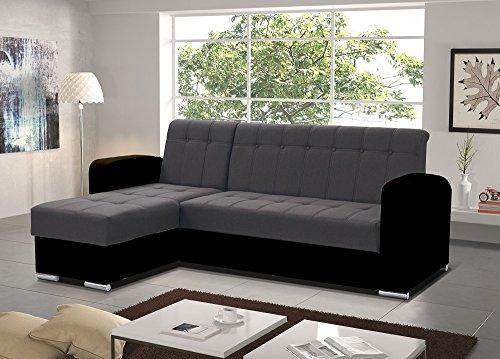 Don Baraton anticrisis.net Sofa Chaise Longue Cama con arcón – Salerno (Gris/Negro, Chaise Longue Izquierda)
