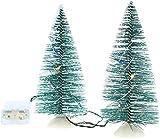 com-four® 2X Albero di Natale in Miniatura con Decorazioni Natalizie con Illuminazione a LED - Supporto Albero di Natale Artificiale con Lucine (02 Pezzi - 15 cm)