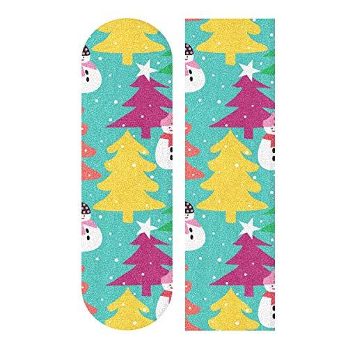 MNSRUU Schnittmuster mit Baum und Schneemann Skateboard Griptape Blatt Scooter Deck Sandpapier 22,9 x 83,8 cm