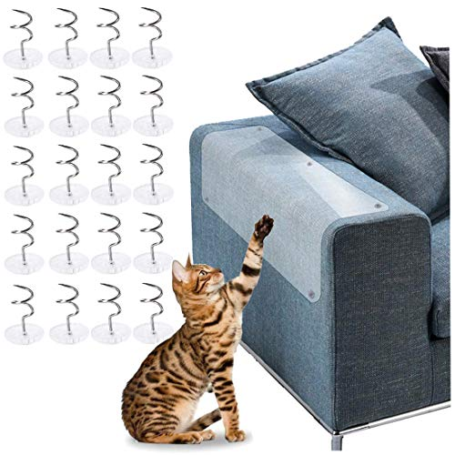 Agete Cat Scratching Guard Pet Cat Furniture Protector Sofa Cat Scratch Protector for Upholstery Leather Fabric Chairs with Twist Pins (18.5' x 5.9'-4Pcs)