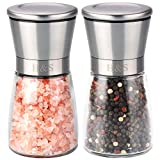 H&S Salt and Pepper Grinder Mill Set Salt and Pepper Shakers Brushed Stainless Steel Glass Body