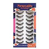 Newcally Lashes So Natural Wispy False Eyelashes Cat Eye Lashes Hand-Knotted Soft Light Volume Fake Lashes Multipack