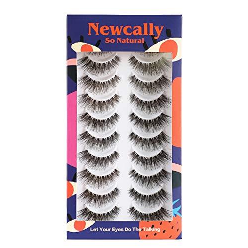 Newcally Lashes Natural Wispy False Eyelashes Cat Eye Lashes Hand-Knotted Soft Light Volume Fake Lashes Multipack