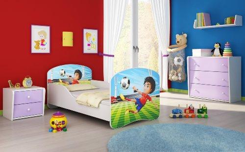 Letto per bambino Cameretta per bambino con materasso Cassetto ACMA I (13 Il calciatore, 140x70)