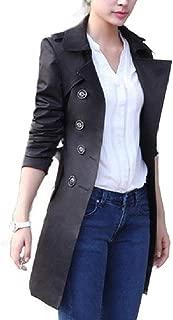 MogogoWomen Waist Tie Premium Overcoat Trench Coat Double Button Jacket