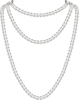 Hicarer 69 Inch Pearls Necklace Long Faux Pearls Layered Strand Necklace for Women Girls
