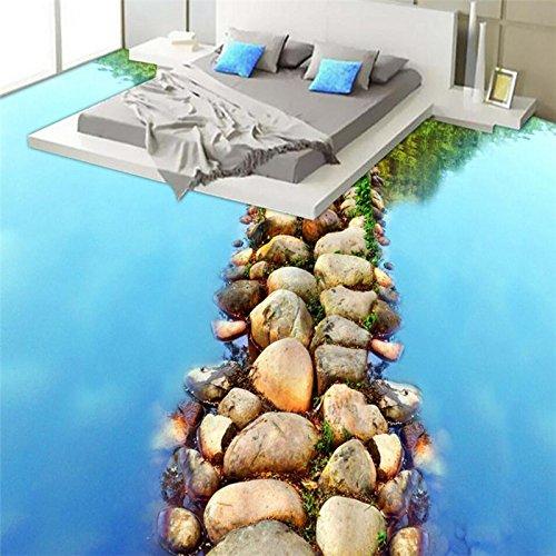 Woonn Mooie riviersteen leisteen, straattoiletten badkamer 3d vloer aangepaste grote Fresko PVC dik 500CM*300CM