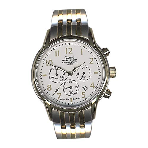 Garde, orologio da polso da uomo 11933S, elegante, in titanio, argento, oro, con cronografo D2UGA11933S, idea regalo per Natale, compleanno, San Valentino per uomo