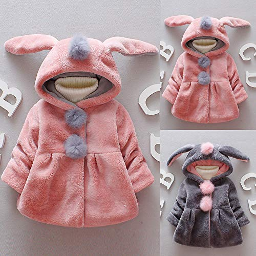 H.eternal Baby Hooded Coat Baby Boys Girls Rabbit Jackets Warm Autumn Winter Waistcoat Clothes Toddler Windbreaker Ourwear Age 1-8 Years (Gray 1, 18-24 Months)