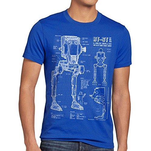 style3 AT-ST Cianotipo Camiseta para Hombre T-Shirt Fotocalco Azul Andador, Talla:XL, Color:Azul