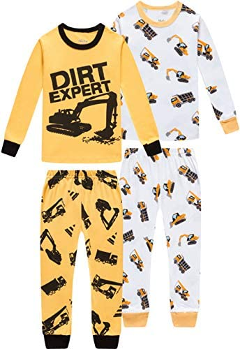 Pajamas For Boys Children Trucks Clothes Kids Pants Set Baby 4 Pieces Sleepwear 7t product image