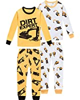 shelry Pajamas for Boys Children Trucks Clothes Christmas Kids Pants Set Baby 4 Pieces Sleepwear 7t