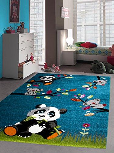 Kinderteppich Spielteppich Kinderzimmer Teppich Tiere mit Panda in Türkis Grün Grau, Größe 120 cm Rund