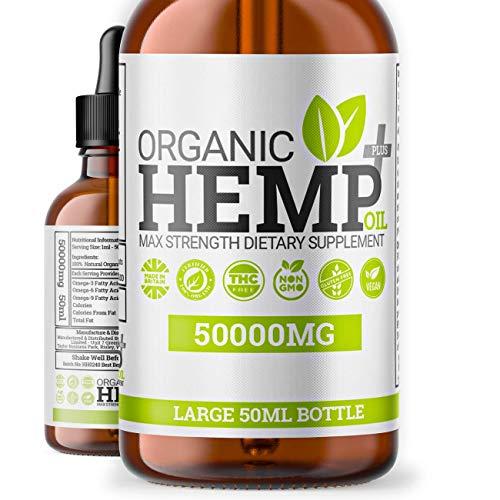 Hemp Oil Plus+ Drops | 50,000mg | Premium Organic Hemp Seed Oil Drops | Omega 3,6,9 | Made in UK