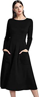 Samtree Women's Dresses,Long Sleeves Solid Color Casual Midi Dress Pockets